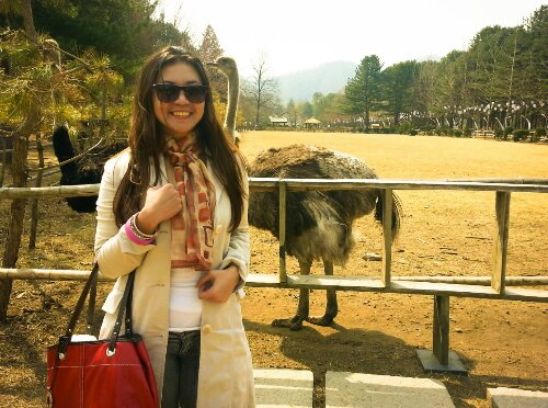 ostrich and me at nami Island